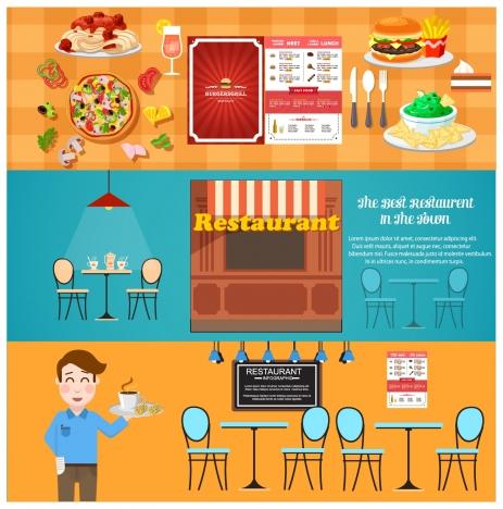 restaurant design elements illustration in flat horizontal style