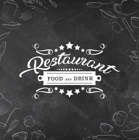 restaurant menu cover template black white retro decor