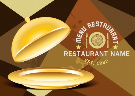 restaurant menu cover template shiny golden dishware decor