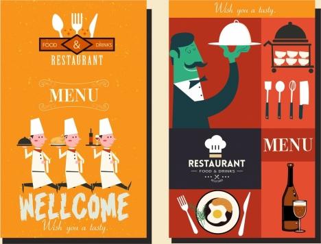 restaurant menu cover templates cartoon characters classical design