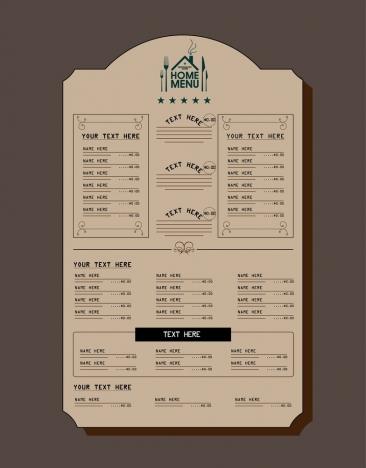 Restaurant menu design retro style on dark background ...