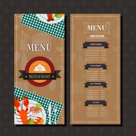 restaurant menu template brown classical design food decor vectors