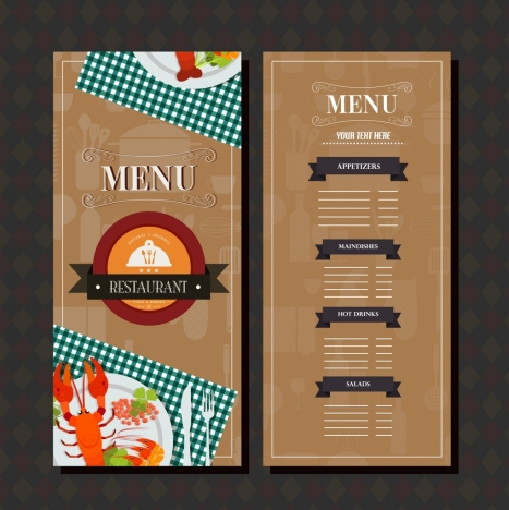 restaurant menu template brown classical design food decor