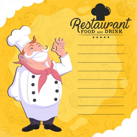 restaurant menu template cook food icons decor