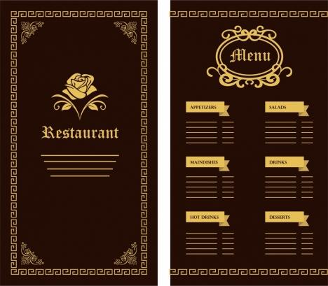 restaurant menu template flower classical design on dark