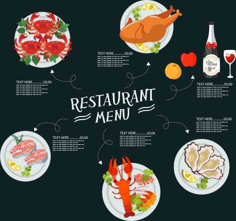 restaurant menu template food drink icons modern design