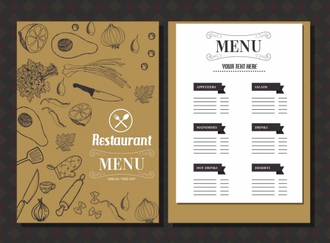 restaurant menu template food icons classical handdrawn sketch