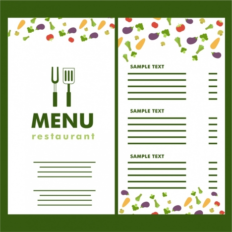 restaurant menu vegetable icons on white background vectors stock in