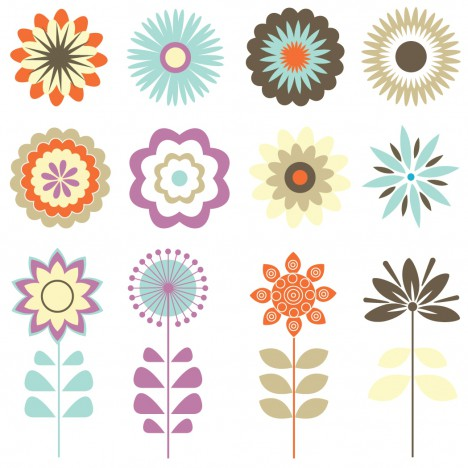 Retro Floral Ornaments