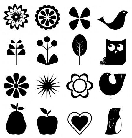 Retro nature icon set