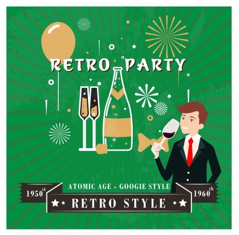 retro party poster design on bright fireworks background