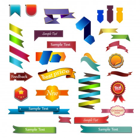 ribbon banner tag badge label collection