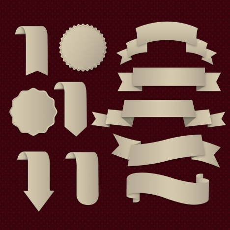 ribbons and stamps sets with various shapes