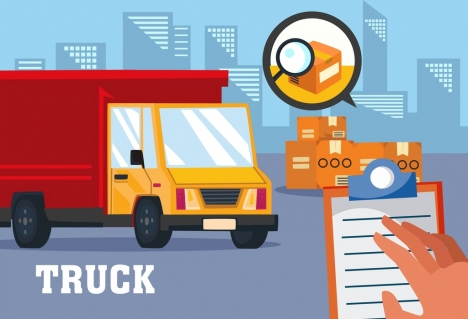 road shipping background truck checklist freight icons decor