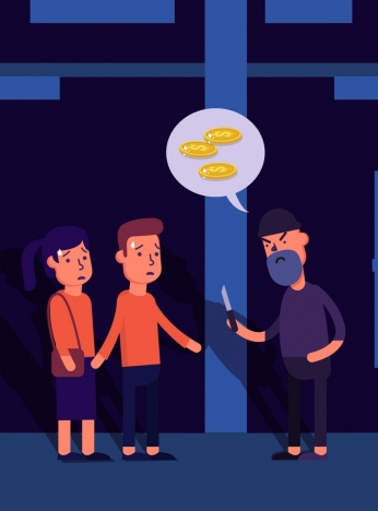 robber background human coin speech bubble cartoon characters