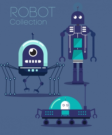 robots advertising modern models dark blue design