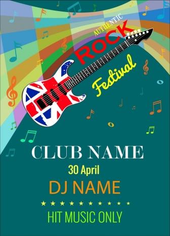 rock festival banner flyer guitar colorful notes symbols