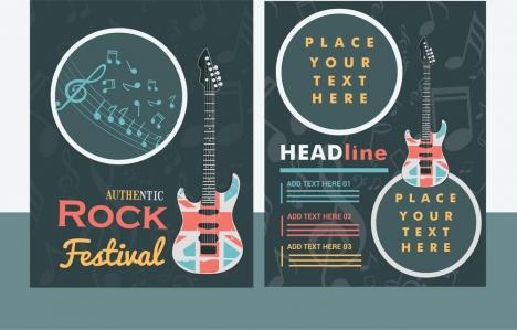Rock Festival Banner Guitar And Notes Vignette Design Vectors Stock In Format For Free Download 3 48mb