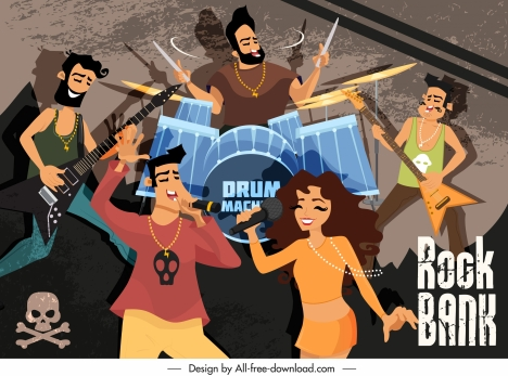 rock music background performing band sketch cartoon characters