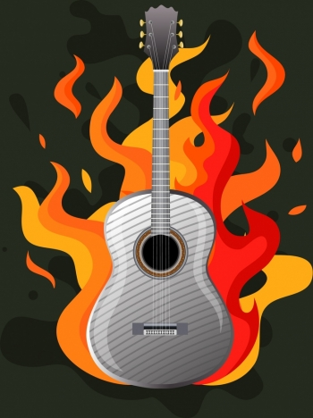 rock party background classical guitar red fire icons