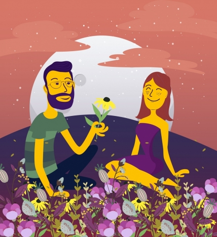 romantic couple drawing flowers decoration colored cartoon design
