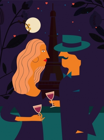 romantic drawing france night background colored cartoon