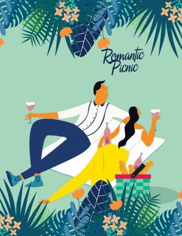 romantic picnic drawing love couple icon colored cartoon