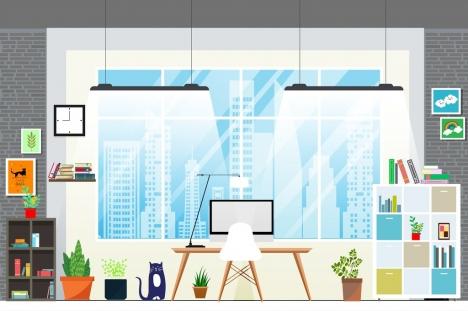 room decor background furniture icons modern design