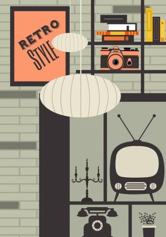 room decor background retro appliances icons