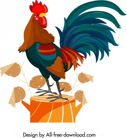 rooster painting colorful classical design cartoon character