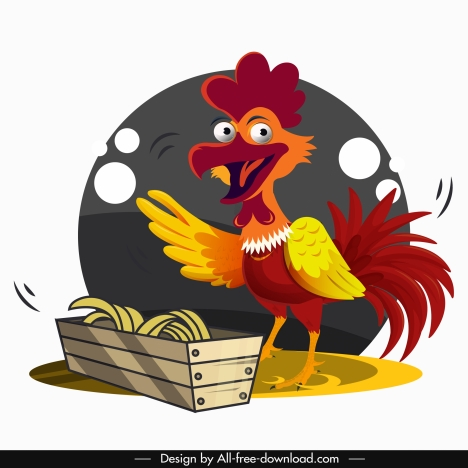rooster painting funny cartoon design