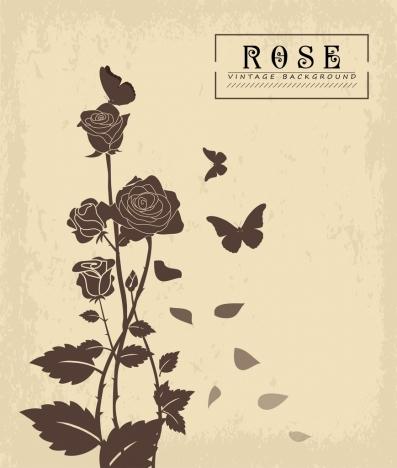 rose butterflies background vintage style black silhouette decor