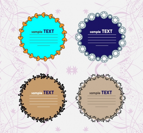 round frames design collection floral hearts diamond decoration