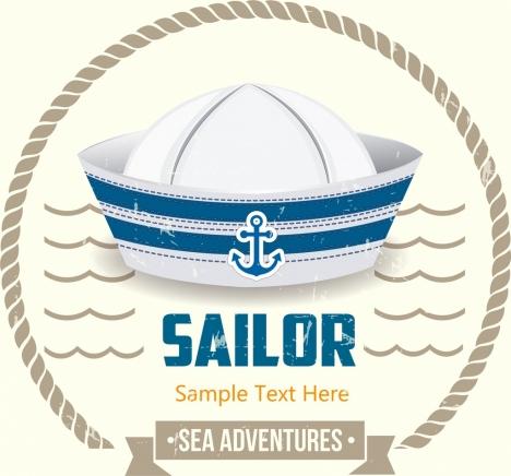sailor banner hat waves icon circle decor