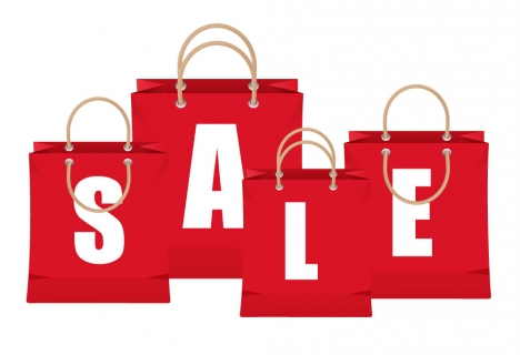 sale banner design with letter on bags vectors stock in format for