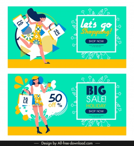 sale banner templates female shopper sketch bright colorful