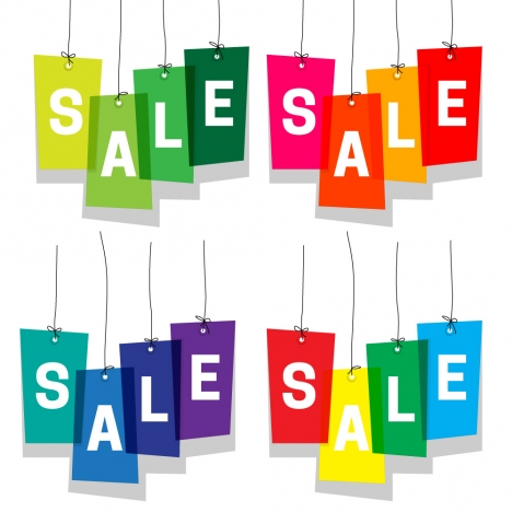 sale design with sets of colorful stickers