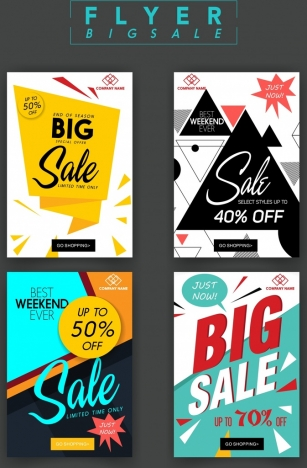 sale flyer templates modern geometric origami decor