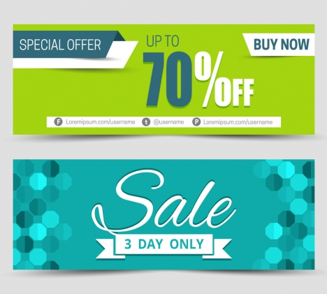 sales banners sets with contrasted backgrounds