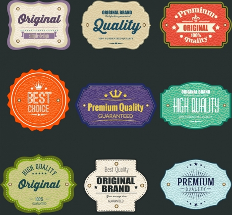 sales labels collection colorful flat shapes classical design