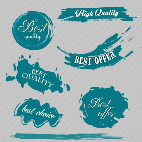 sales labels collection grunge blue decor