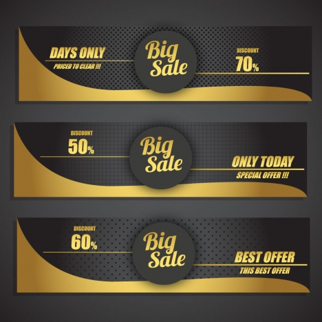sales promotion banner sets on black yellow background