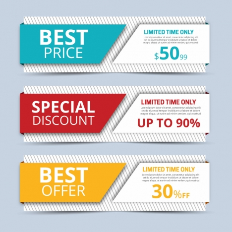 sales promotion banners sets on 3d background