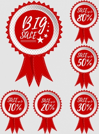 sales tags collection red circles ribbon design