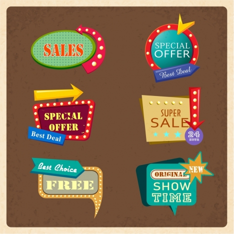 sales tags templates modern design light arrow decoration