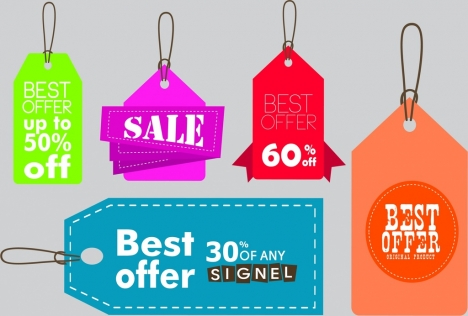 Sales Tags Templates Various Colored Shapes Design Vectors Stock In Format For Free Download 3 07mb