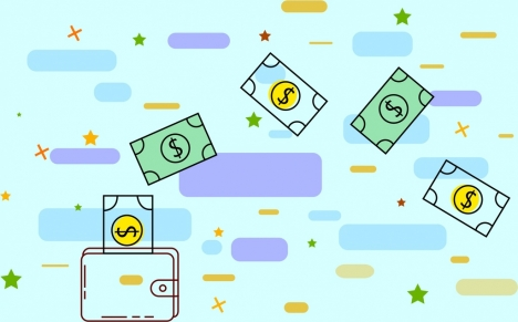 savings concept background money wallet icons flat design