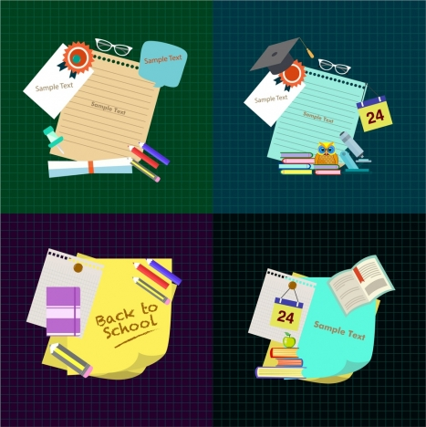 school tools design elements various colored symbols isolation