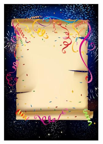 Scrolled paper celebration