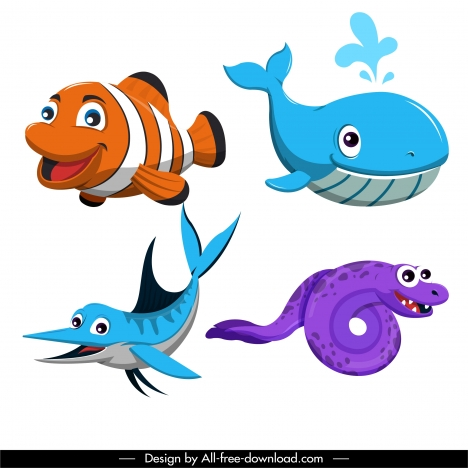 sea creatures icons cute cartoon characters colored design